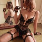 性感情趣内衣透视蕾丝睡衣床上挑逗激情连体衣透明诱惑免脱套装骚